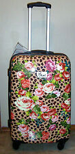 "NWT CHARIOT 26"" LEOPARD FLORAL HARDCASE SPINNER ROLLING SUITCASE LUGGAGE W/ LOCK"