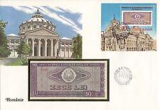 superbe enveloppe ROUMANIE ROMANIA billet de banque 10 L UNC NEUF + TIMBRES