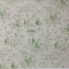 "P KAUFMANN KENSINGTON GARDEN APPLE GREEN COUNTRY TOILE FABRIC BY THE YARD 54""W"