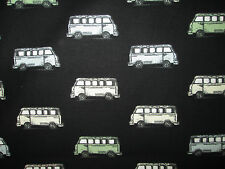 RETRO VW BUS MICRO PASTELS BLACK COTTON FABRIC FQ