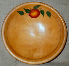APPLE MOTIF~OLD 1920s-1940s HAND PAINTED MAPLE WOOD DOUGH BOWL~OUT of ROUND