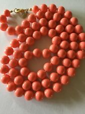 JOAN RIVERS GOLD w HAND-KNOTTED FAUX CORAL GLASS BEAD NECKLACE