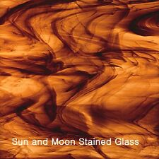 Spectrum Stained Glass Sheet S411-15 - Brown and Gold Streaky (Size 8X10)