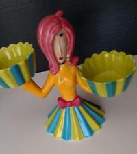 Dollymama by Joey Cupcake Holder Stand Ceramic Pink Hair Lady Magnets on Hands
