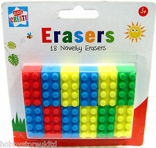 Novelty Erasers Lego Rubbers 18 School Rubbers Kids Erasers Brick Block Type New