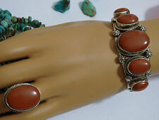 NAVAJO JerryJohnson RED RIVER JASPER Gems in STERLING Silver CUFF & RING Sz7 Set