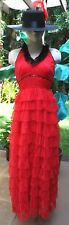 Red Spanish Flamenco Dancer Costume Dress w/Black Lace Trim & Feathered Hat XS