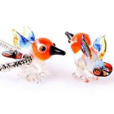 Handmade Murano Glass Bead Animals Charm Sterling Silver Core For Bracelet MO