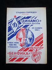 Orig.PRG    UEFA Cup  1992/93   DINAMO MOSKAU - BENFICA LISSABON  1/8 FINALE  !!