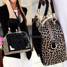 Women Leopard Print Bling Sequins Tote Purse PU Leather Hobo  Handbag Totes Bag