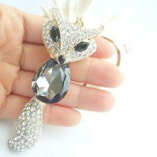 Charming Fox Key Chain w Gray & Clear Rhinestone Crystals KLTZF001C7