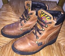 Justin Boys Brown Leather Hiking Original Work Laced Boots size 9.5 Youth