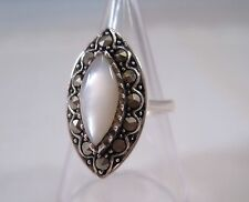 Solid 925 Sterling Silver Marcasite Mother Of Pearl Ring Size J. Vintage Style.
