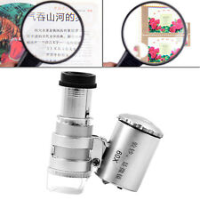 Portable Mini 60X Microscope LED Jewellery Loupe UV Currency Detector Magnifying