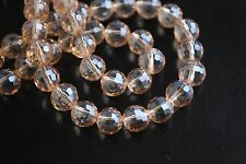 Bulk 50pcs Amber Gold Glass Crystal 96Faceted Round Beads 8mm Spacer Findings