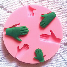 1x Human Hand Fondant Cake Decorating Silicone Mould Fimo DIY Mold Tools Pink