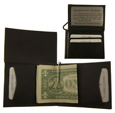 Mens Genuine Leather Cowhide BLACK L Shape bifold Money Clip Wallet