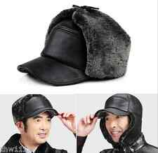 Mens Balck Cowhide Genuine Leather Hat Ear Protect Winter Warm Baseball Cap
