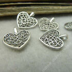 20pc Tibetan Silver Peach heart Flower Charms Pendant Beads Jewellery Craft B312