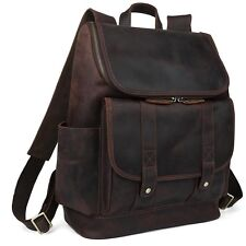 "Men's Real Leather Backpack 15"" Laptop Bag Large Hiking Travel Camping Carry On"