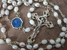 Vintage Catholic Rosary with ST. THERESE Blue enamel medal Ornate Crucifix