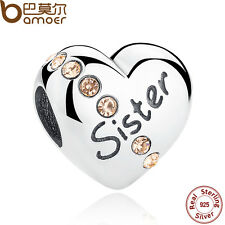 Bamoer Authentic S925 Sterling Silver Charms With Yellow CZ Sister Fit Bracelets