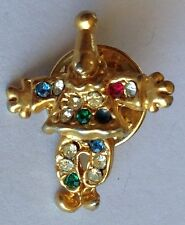 Happy Clown Small Gold Style Pin Brooch Rare Vintage (H5)