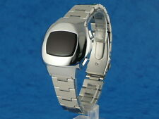SILVER 70s Vintage Style LED LCD DIGITAL Rare Retro Mens Watch 12 & 24 hour p3
