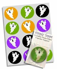12 Halloween Ghost Cupcake Decoration Edible Cake Toppers Pre Cut 40mm