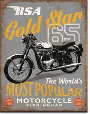 "12.5"" X 16"" TIN SIGN BSA 65 GOLD STAR MOST POPULAR MOTORCYCLE METAL SIGN NEW"