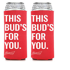 2 New AUTHENTIC BUDWEISER 25oz Beer Koozie Coolie Hugie Cooler 24 Bud Light Tall