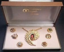 Vintage MagnaGems Changeable Brooch 7 Styles Clip In Gems Charms Original Box
