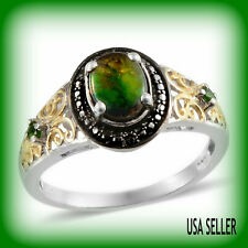 TGW 1.31 Cts. Canadian Ammolite Russian Chrome Diopside Black Diamond Ring