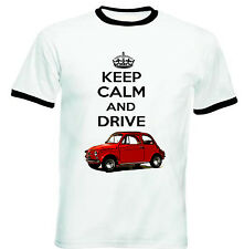 FIAT 500  1958 KEEP CALM AND DRIVE - COTTON TSHIRT - ALL SIZES IN STOCK