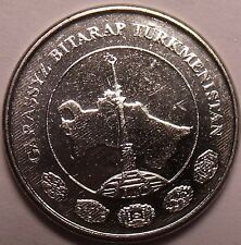 Gem Unc Turkmenistan 2009 Tenge~Spire Over Country Map~Free Shipping