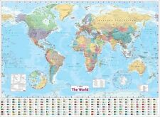 Collins World Wall Laminated Map by Collins Maps Flat Extra Large
