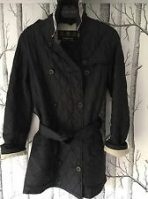 Ladies Black Quilted Trench Barbour Jacket/Coat size 8