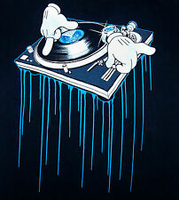 TURNTABLE / RECORD VINYL / ILLUMINATING / CARTOON / DJ / DEEJAY T-SHIRT SIZE L