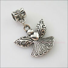 2Pcs Tibetan Silver Angel Heart Wings Charms Bail Beads Fit Bracelets 23x32.5mm