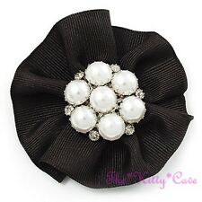 Victorian Deco Style Black Satin Ribbon & Pearl Brooch Pin w/ Swarovski Crystals