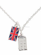 "NEW BBC Dr Doctor Who TARDIS & Union Jack Flag Pendant Necklace 18"" Metal Chain"