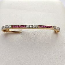 Victorian French Frame 18K Gold Ruby Rose Cut Diamond Bar Safety Brooch Pin