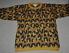 Vtg 80s 90s acrylic Michael Carrie Ugly Leopard cat SWEATER Fairy Kei Small S