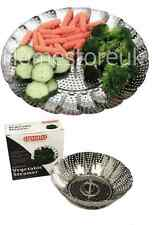 "STAINLESS STEEL VEGETABLE FOOD STEAMER STRAINER COLLAPSIBLE BASKET FAN( 9"") 9136"
