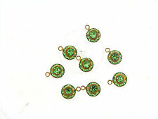 Vintage Brass Swar Crystal Peridot Green Round Burst Tension Prong Drops Charms