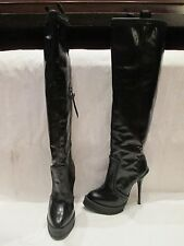 UNIQUE TALL BLACK LEATHER KNEE HIGH HEEL PULL ON BOOTS UK 6 EU 39 (425)