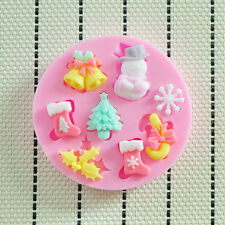 Snow Flake Winter Lace Silicone mould Christmas Cake Snow man Flake HOLLY Tree