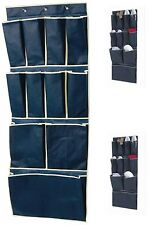 11 Pocket Over Door Shoe Organizer Tidy Rack Hanging Storage Unit Space Blue New