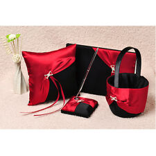 Black&Red Wedding Guest Book and Pen Set Ring Pillow & Flower Girls Basket GB15