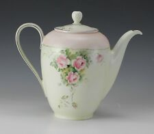 Hutschenreuther Arzberg Barvaria Hand painted Tea Pot, c 1920s Pink Roses